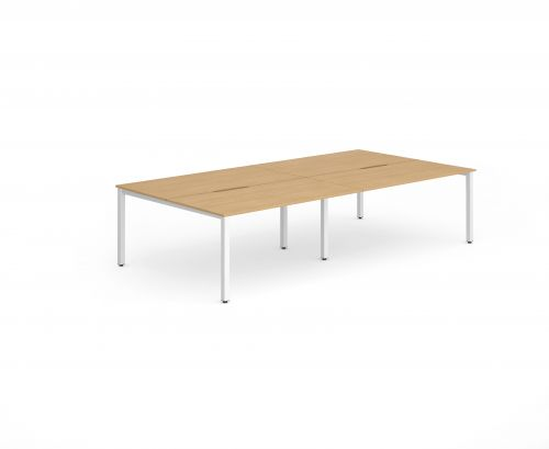 B2B White Frame Bench Desk 1200 Beech (4 Pod)