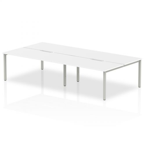 B2B Silver Frame Bench Desk 1600 White (4 Pod)