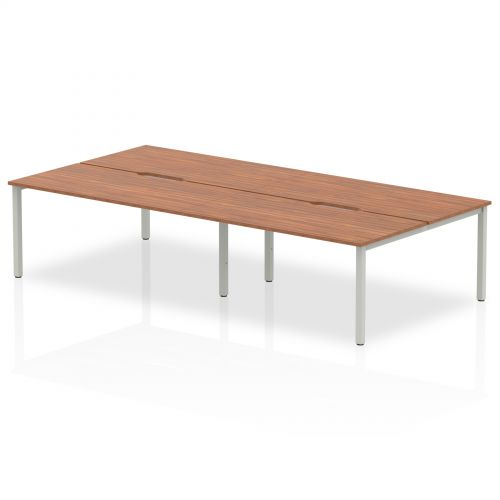 B2B Silver Frame Bench Desk 1600 Walnut (4 Pod)