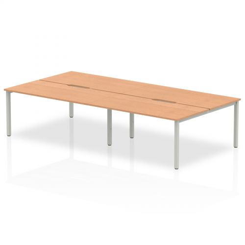 B2B Silver Frame Bench Desk 1600 Oak (4 Pod)