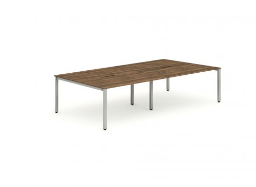 B2B Silver Frame Bench Desk 1400 Walnut (4 Pod)