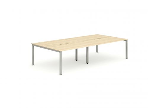 B2B Silver Frame Bench Desk 1400 Maple (4 Pod)