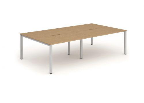 B2B Silver Frame Bench Desk 1400 Oak (4 Pod)