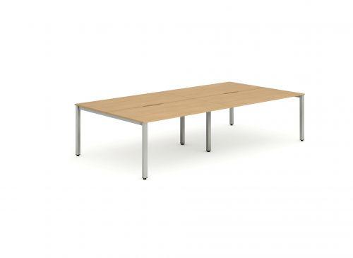 B2B Silver Frame Bench Desk 1200 Beech (4 Pod)
