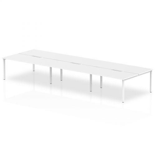 B2B White Frame Bench Desk 1600 White (6 Pod)
