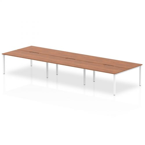 B2B White Frame Bench Desk 1600 Walnut (6 Pod)