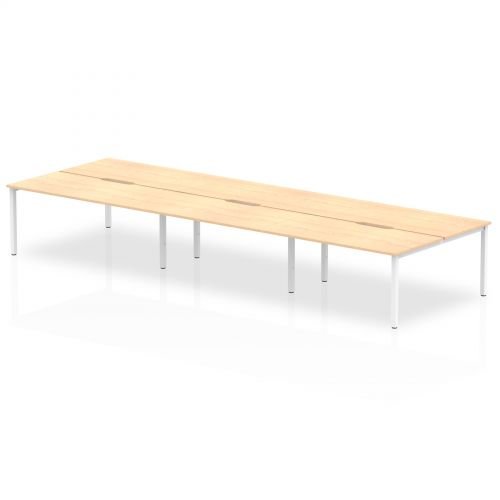 B2B White Frame Bench Desk 1600 Maple (6 Pod)