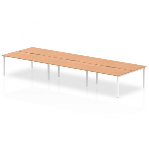 B2B White Frame Bench Desk 1600 Oak (6 Pod)