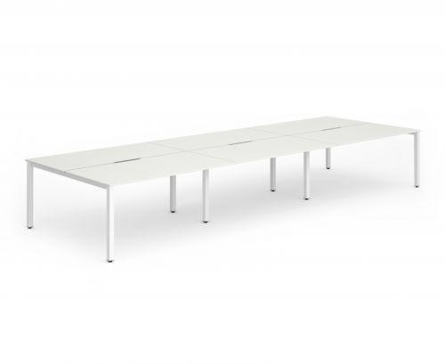 B2B White Frame Bench Desk 1400 White (6 Pod)