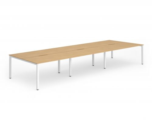 B2B White Frame Bench Desk 1400 Beech (6 Pod)