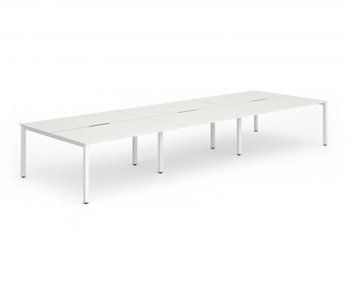 B2B White Frame Bench Desk 1200 White (6 Pod)