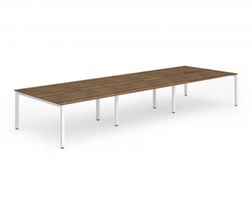B2B White Frame Bench Desk 1200 Walnut (6 Pod)