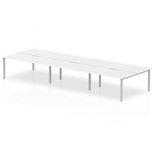 B2B Silver Frame Bench Desk 1600 White (6 Pod)