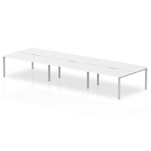 B2B Silver Frame Bench Desk 1600 White (6 Pod)