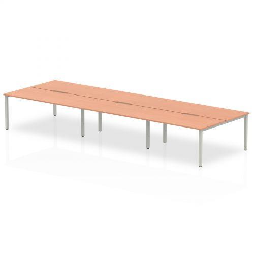 B2B Silver Frame Bench Desk 1600 Beech (6 Pod)
