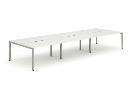 B2B Silver Frame Bench Desk 1400 White (6 Pod)