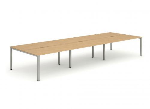 B2B Silver Frame Bench Desk 1400 Beech (6 Pod)