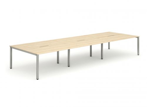 B2B Silver Frame Bench Desk 1400 Maple (6 Pod)