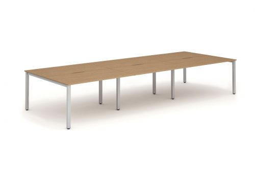 B2B Silver Frame Bench Desk 1200 Oak (6 Pod)