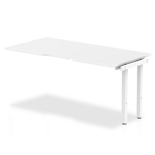 Single Ext Kit White Frame Bench Desk 1600 White