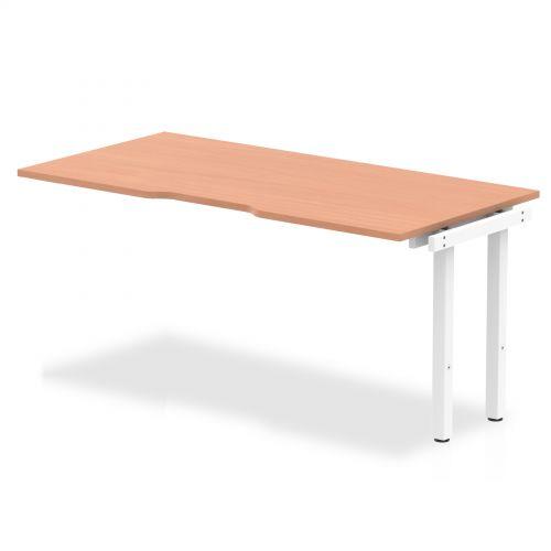Single Ext Kit White Frame Bench Desk 1600 Beech
