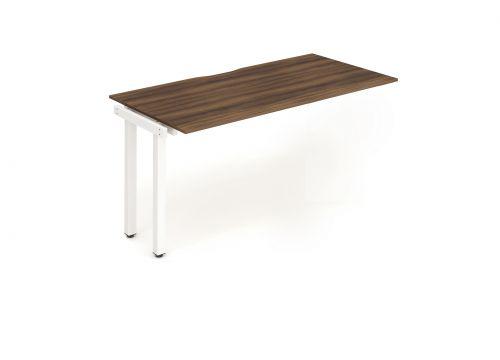 Single Ext Kit White Frame Bench Desk 1400 Walnut