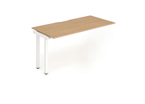 Single Ext Kit White Frame Bench Desk 1400 Beech
