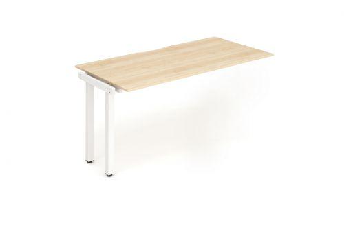 Single Ext Kit White Frame Bench Desk 1400 Maple
