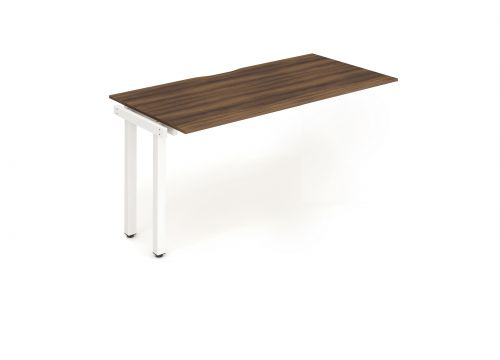 Single Ext Kit White Frame Bench Desk 1200 Walnut