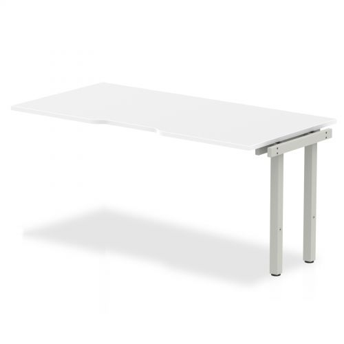 Single Ext Kit Silver Frame Bench Desk 1600 White