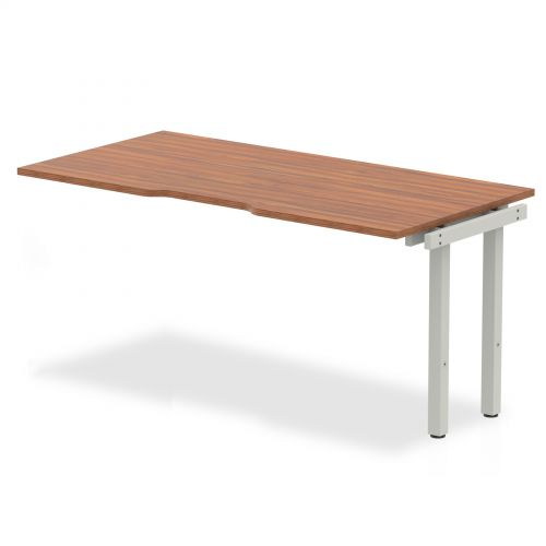 Single Ext Kit Silver Frame Bench Desk 1600 Walnut