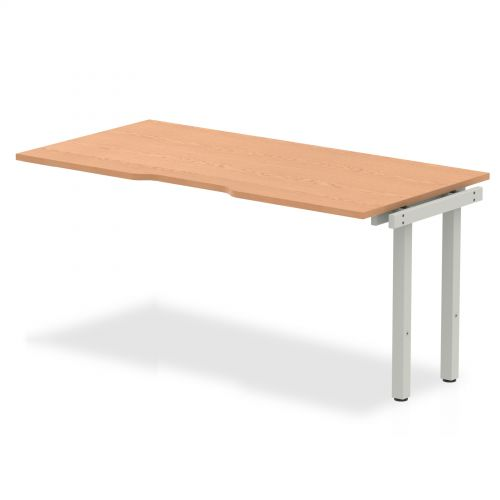 Single Ext Kit Silver Frame Bench Desk 1600 Oak