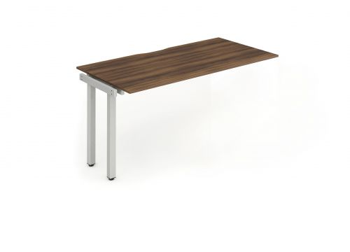 Single Ext Kit Silver Frame Bench Desk 1200 Walnut