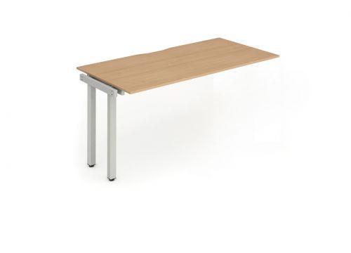 Single Ext Kit Silver Frame Bench Desk 1200 Beech