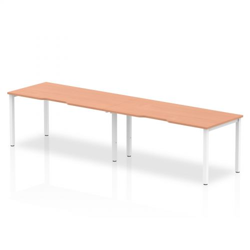 Single White Frame Bench Desk 1600 Beech (2 Pod)