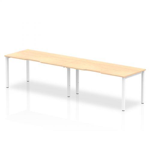 Single White Frame Bench Desk 1600 Maple (2 Pod)