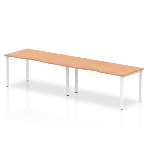 Single White Frame Bench Desk 1600 Oak (2 Pod)