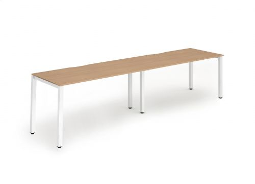 Single White Frame Bench Desk 1400 Beech (2 Pod)