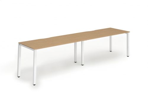 Single White Frame Bench Desk 1400 Oak (2 Pod)