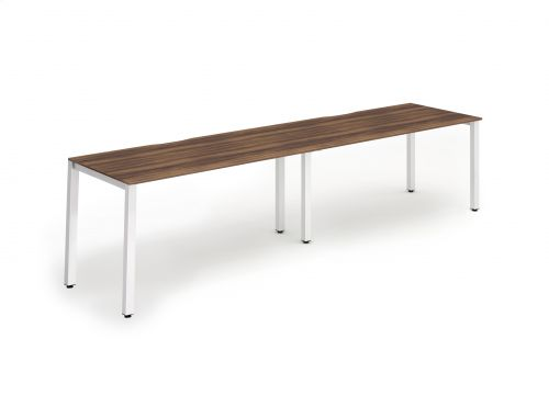 Single White Frame Bench Desk 1200 Walnut (2 Pod)