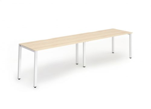 Single White Frame Bench Desk 1200 Maple (2 Pod)