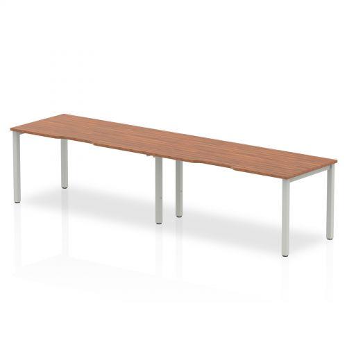 Single Silver Frame Bench Desk 1600 Walnut (2 Pod)