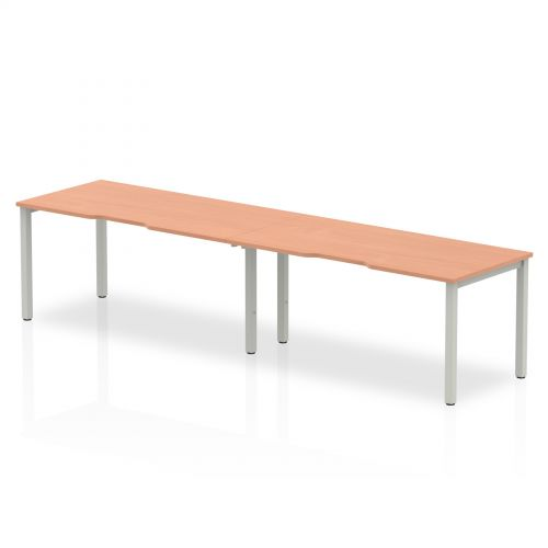 Single Silver Frame Bench Desk 1600 Beech (2 Pod)