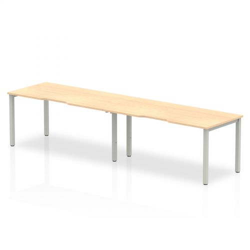 Single Silver Frame Bench Desk 1600 Maple (2 Pod)