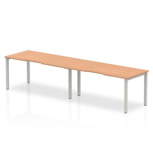 Single Silver Frame Bench Desk 1600 Oak (2 Pod)