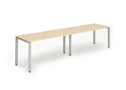 Single Silver Frame Bench Desk 1400 Maple (2 Pod)