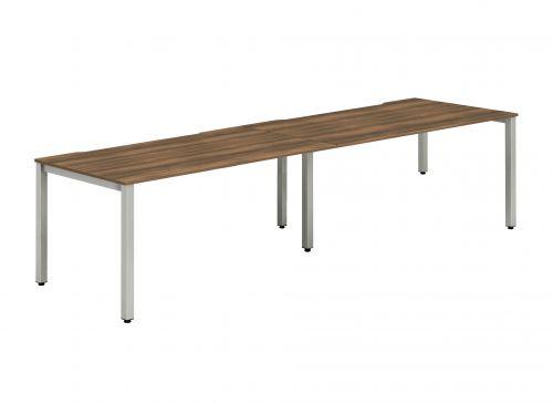 Single Silver Frame Bench Desk 1200 Walnut (2 Pod)