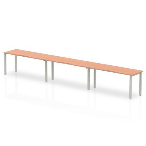 Single White Frame Bench Desk 1600 Beech (3 Pod)
