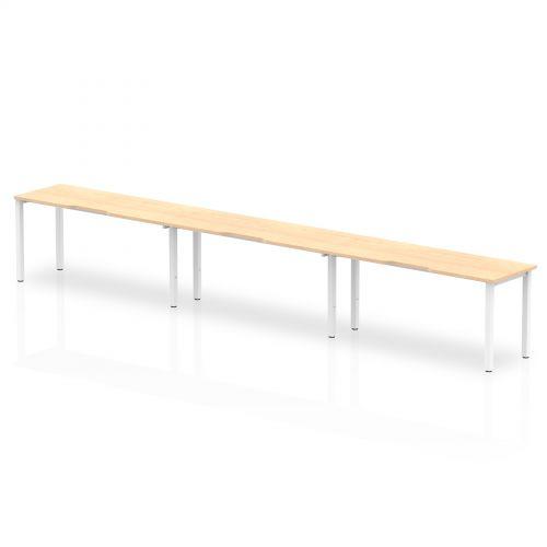 Single White Frame Bench Desk 1600 Maple (3 Pod)