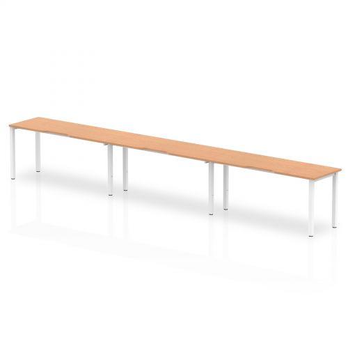 Single White Frame Bench Desk 1600 Oak (3 Pod)